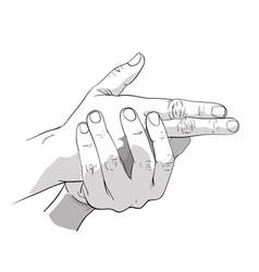Hand gun shot vector