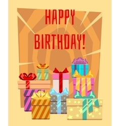 Happy birthday greeting card with a heap of gift vector
