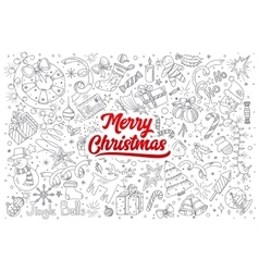 Merry Christmas doodle set with lettering vector image vector image