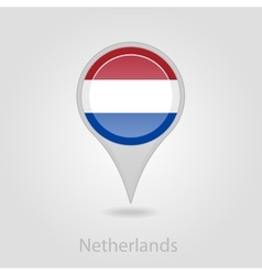 Netherlands flag pin map icon vector