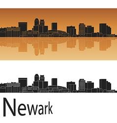Newark skyline in orange background vector image vector image