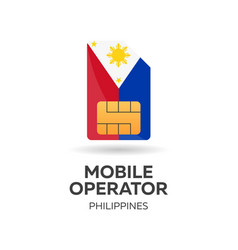 Philippines mobile operator sim card with flag vector