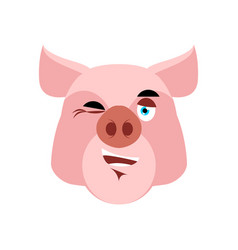 Pig winking emoji piggy merry emotion on white vector