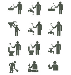 plumber and mason symbol icons set vector image vector image