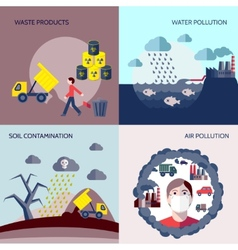 Pollution icons flat set vector image