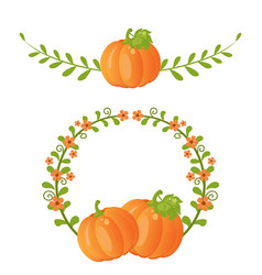 pumpkin and leaves pumpkin and leaves vector image