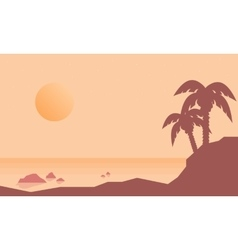 Silhouette of beach with palm landscape vector