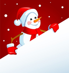 Snowman with a poster vector image vector image