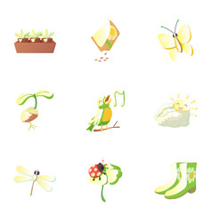 Springtime icons set cartoon style vector