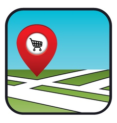 Street map icon with the pointer supermarket vector image