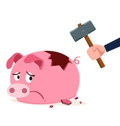 stressed piggy bank vector image vector image
