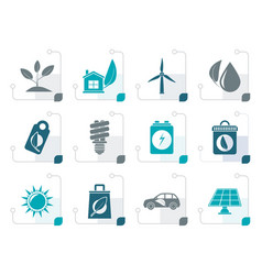 Stylized green and environment icons vector