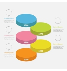 Timeline vertical round colorful stage podium vector