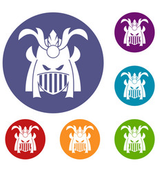 Tribal helmet icons set vector