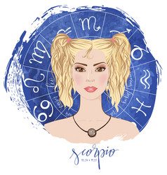 Zodiac signs scorpio in image of beauty girl vector