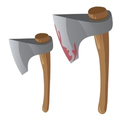 Two retro bloody axe with wood handles vector