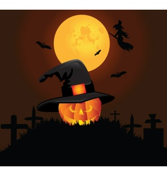 Halloween pumpkin graveyard background vector