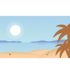Landscape beach and palm of silhouette vector