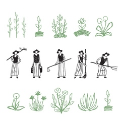 Hand drawn farming women vector