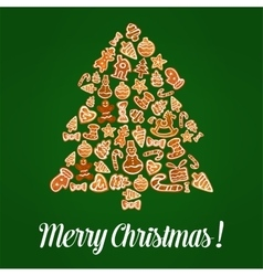 Merry Christmas gingerbread pine tree vector image
