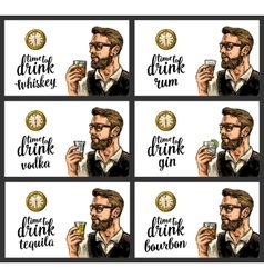 Hipster holding a glasses alcohol drinks and vector