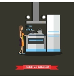 woman cooking festive vector image