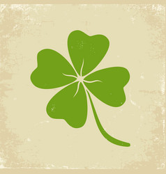 green clover on old paper vector image