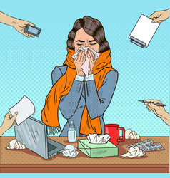 pop art business woman sneezing at office work vector image