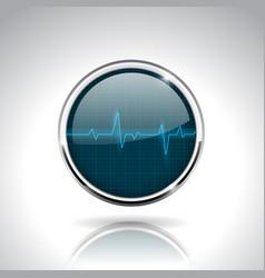 electrocardiogram sign dark blue round 3d icon vector image