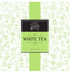 tea seamless background with thin line icons - vector image