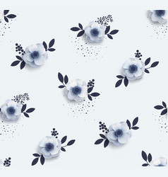 Tender seamless pattern with flowers anemones vector