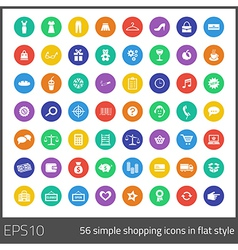 Simple 56 shopping icons in flat style vector