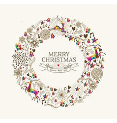 Vintage christmas wreath greeting card vector