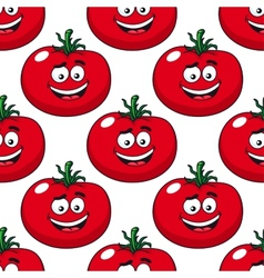 Cartoon smiling red tomatoes seamless pattern vector