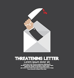 Hand with knife threatening letter concept vector