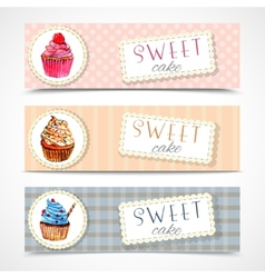 Sweetshop cupcakes banners set vector