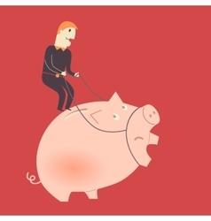Businessman on a pig vector