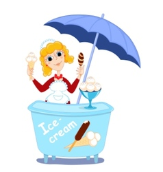 Girl and ice cream vector