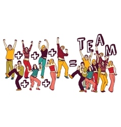 Team group happy young people color isolate white vector