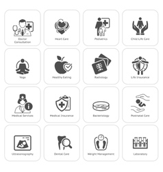 Medical and health care icons set flat design vector