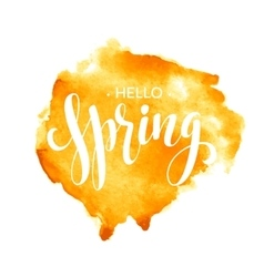 Hello spring watercolor lettering design vector