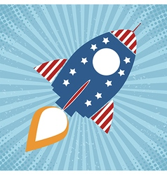 Retro vintage usa rocket icon vector