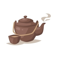Gray china cartoon teapot and cup with hot vector