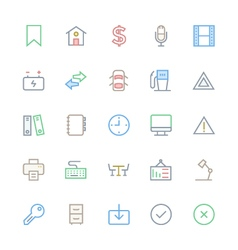 User interface colored line icons 10 vector