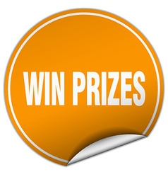 Win prizes round orange sticker isolated on white vector