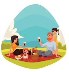 Happy family having picnic together outdoors vector