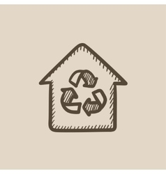 House with recycling symbol sketch icon vector