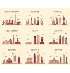 American cities skyline trendy linear vector image vector image