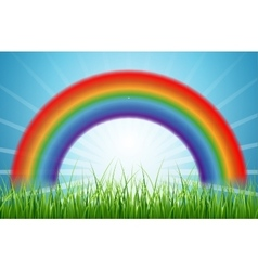 Bright rainbow blue sky with rising sun and green vector