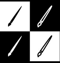 Brush sign black and white vector